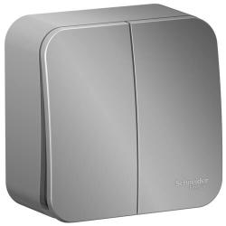 Выключатель 2кл Blanca О/У 10А  (алюминий) BLNVA105003