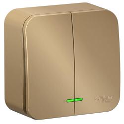 Выключатель 2кл с подсветкой Blanca О/У 10А с изолир. пластиной (титан) BLNVA105114