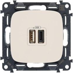 Розетка USB Valena Allure с двумя разъемами тип А/тип С (слоновая кость) 754966