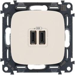 Розетка USB Valena Allure с двумя разъемами тип С/тип С (слоновая кость) 755346