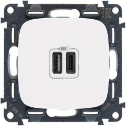 Розетка USB Valena Allure с двумя разъемами тип А/тип С (белая) 754965