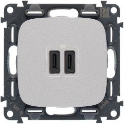 Розетка USB Valena Allure с двумя разъемами тип С/тип С (алюминий) 755347