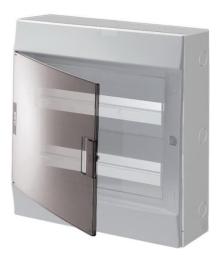 Бокс настенный ABB Mistral41 на 36 (2x18) мод. прозрачная дверца (с шиной)