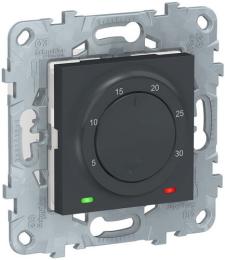 Термостат Unica New электронный 8А, встроенный термодатчик (антрацит) NU550154