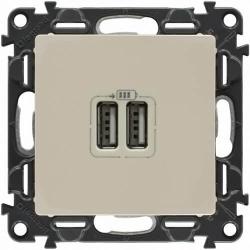 Розетка USB Valena Life с лицевой панелью (слоновая кость)