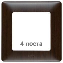 Рамка четырехместная Valena Life (темное дерево) 754174