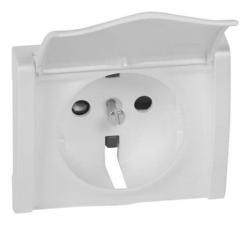 Лицевая панель Galea Life для розетки с крышкой с заземлением со шторками (белая) 777022