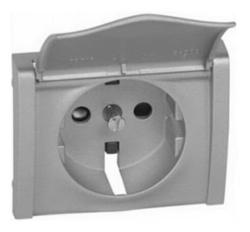 Лицевая панель Galea Life для розетки с крышкой с заземлением со шторками (алюминий) 771322