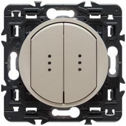 Выключатель двухклавишный кнопочный с подсветкой Celiane (слоновая кость)