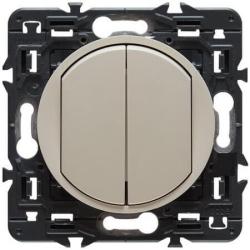 Выключатель двухклавишный кнопочный Celiane (слоновая кость) 067032+066201+080251