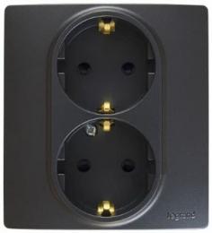 Розетка двойная Etika Plus с заземлением со шторками безвинтовые зажимы (антрацит)