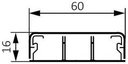 Миниплинтус DLPlus 60x16мм. с двумя перегородками 2,1м (белый)