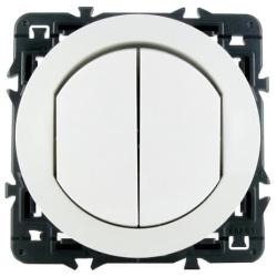 Влагозащищенный двухклавишный выключатель-переключатель Celiane (белый) 067001+067802+080251