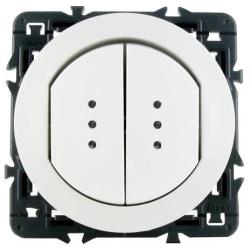 Влагозащищенный двухклавишный выключатель-переключатель Celiane с подсветкой (белый)