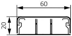 Миниплинтус DLPlus 60x20мм. двумя перегородками 2,1м (белый)