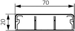 Миниплинтус DLPlus 70x20мм. двумя перегородками 2,1м (белый)