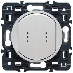 Переключатель двухклавишный кнопочный Celiane с подсветкой (белый) 067031+067686+068004+080251