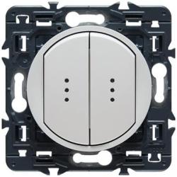 Проходной двухклавишный переключатель с подсветкой Celiane (белый)