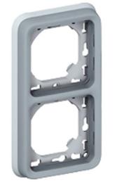Рамка  вертикальная для встроенного монтажа с суппортом Plexo 2 поста (цвет серый) 069685
