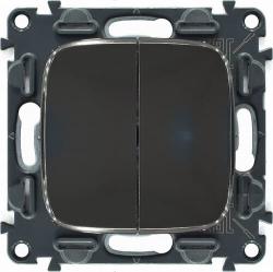 Переключатель двухклавишный Valena Allure (темная нержавеющая сталь) 752028+755123