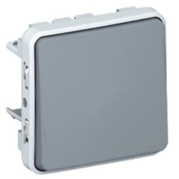 Выключатель кнопочный H.O. + H.З. контакт Plexo IP55 (цвет серый) 069541