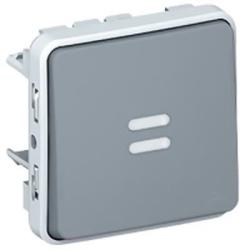 Выключатель кнопочный  с подсветкой H.O. контакт Plexo IP55 (цвет серый) 069542