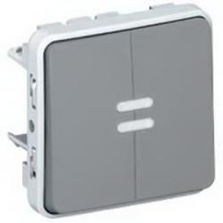 Переключатель с подсветкой двухкл. Plexo IP55 (цвет серый)
