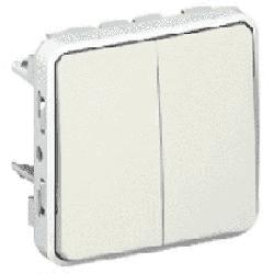 Переключатель двухклавишный Plexo IP55 (цвет белый) 069625