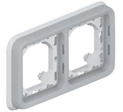 Рамка для встроенного монтажа с суппортом Plexo 2 поста (цвет серый) 069683