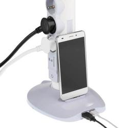 Удлинитель-стойка 4 розетки + 2×USB + microUSB с кабелем 2м 694614