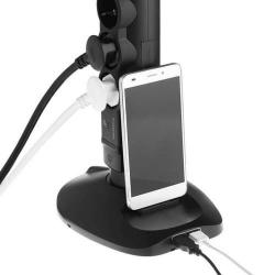 Удлинитель-стойка 4 розетки + 2×USB + microUSB с кабелем 2м (черный) 694619