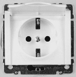 Розетка с заземлением с крышкой Galea Life на безвинтовых зажимах (белый)