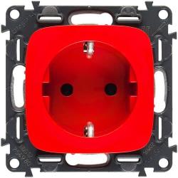 Розетка Valena Allure, со шторками безвинтовые зажимы (красный) 754980