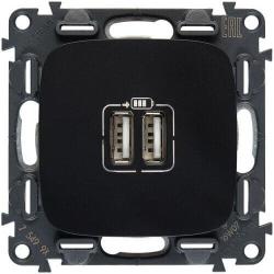 Розетка USB Valena Allure с двумя разъемами тип А/тип А (антрацит) 754998