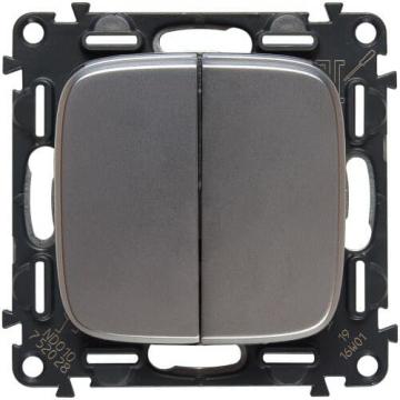 Кнопка двухклавишная 6А Valena Allure (светлая нержавеющая сталь) 752018+755023