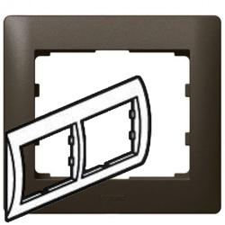 Рамка Galea life двухместная горизонтальная (темная бронза) 771202