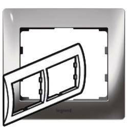 Рамка Galea life двухместная горизонтальная (хром) 771932