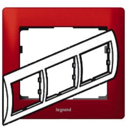 Рамка Galea life трехместная горизонтальная (красный)