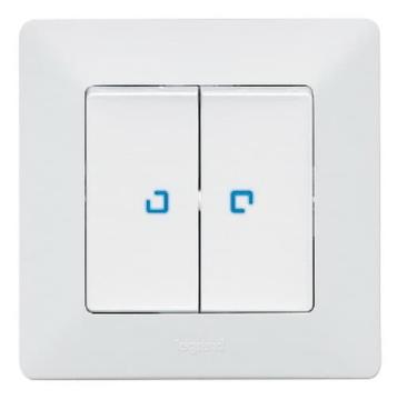 Переключатель двухклавишный с подсветкой Valena Life (белый)