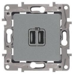 Розетка USB Etika с двумя разъемами тип А/тип А  (алюминий)    672494
