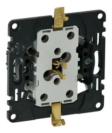 Механизм электрической розетки двойной Legrand Valena IN'MATIC на безвинтовых зажимах со шторками