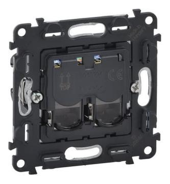 Механизм телефонной двойной розетки RJ11/RJ11 Legrand Valena IN'MATIC кат. 6е 753039