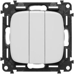 Выключатель трехклавишный Valena Allure (белый) 752003+755035