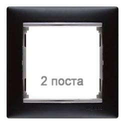 Рамка Valena двухместная (Ноктюрн/Серебряный штрих)