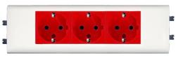 Розетка с заземлением с суппортом для кабель-каналов DLP с крышкой 65мм с блокировкой тройная 077453
