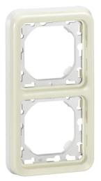 Рамка вертикальная для встроенного монтажа с суппортом Plexo 2 поста (белая) 069696