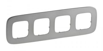 Артикул: 755504, Рамка четырехместная Valena Allure (Полированная сталь)