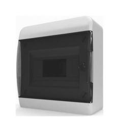 Бокс настенный Tekfor на 8 мод. прозрачная черная дверца (с шиной) BNK 40-08-1