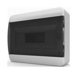 Бокс настенный Tekfor на 12 мод. прозрачная черная дверца (с шиной) BNK 40-12-1
