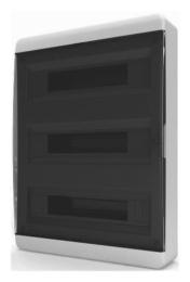 Бокс настенный Tekfor на 54 мод. прозрачная черная дверца (с шиной) BNK 40-54-1